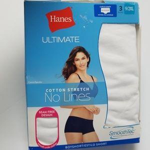 Hanes Intimates & Sleepwear - NWT No Panty Lines 3 Boyshort Underwears